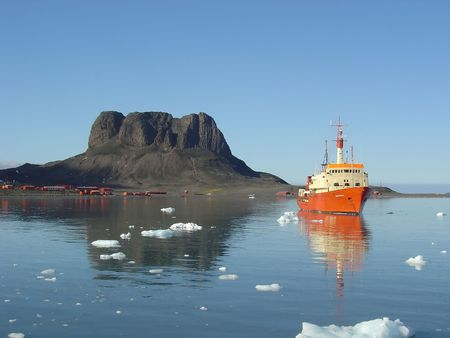 ICEBREAKER AT ARGENTINIAN BASE Stock Photo