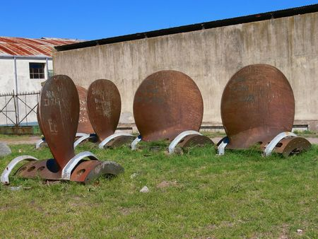 a big ship: propeller blades taken from a big ship