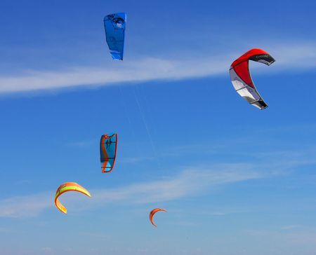 nautic: five kite surf wings in the sky
