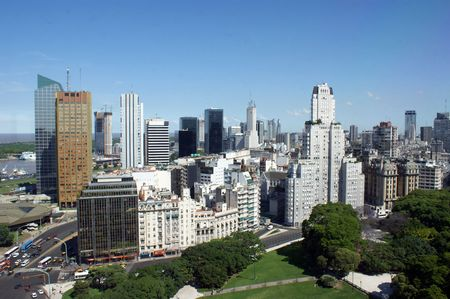 buenos: Classic and modern buildings in aerial view of downtown Buenos Aires
