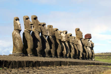 fifteen: fifteen moais of different sizes from easter island