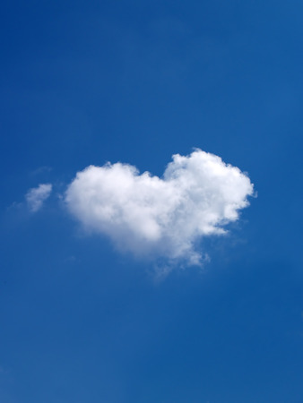 heart shaped: Heart shaped Cloud on blue Sky Stock Photo