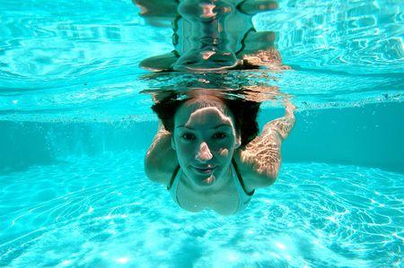 underwater woman: Swimming