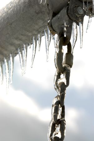 Photo after  an ice storm around a swingset
