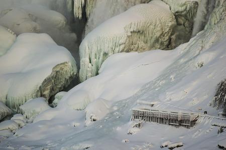american falls: The American Falls in winter, Niagara Falls, NY. #niagarafalls #niagaratourism #niagarafallstourism Stock Photo