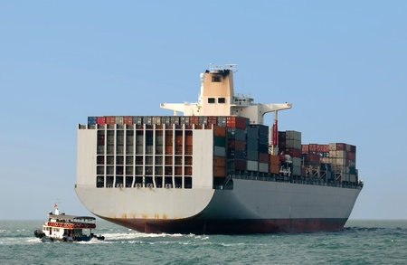 seafreight: Container ship in Hong Kong
