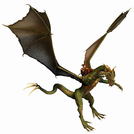 flying dragon: Dragon landing Stock Photo