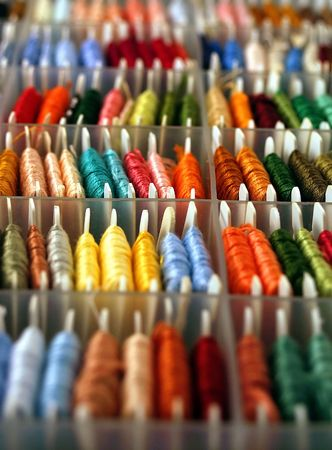 sorting: Embroidery floss in a sorting box.