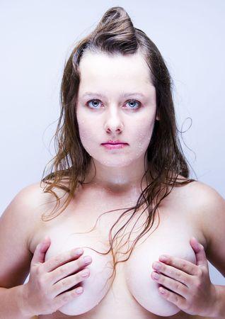 cheastm breast: Fresh woman Stock Photo