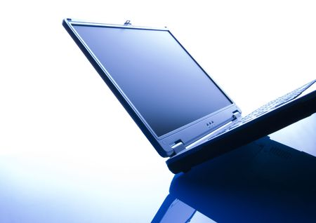 Laptop PC over white background. Stock Photo
