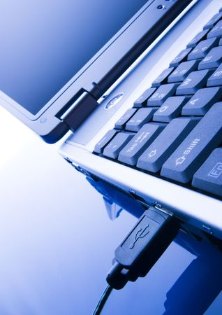 Laptop PC over white background. photo