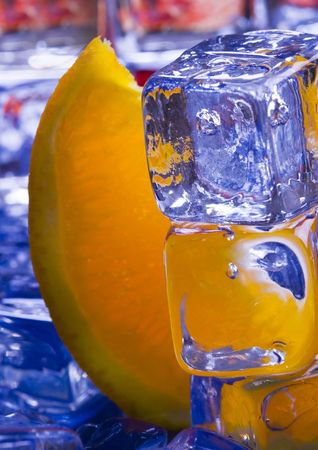 Orange with ice cubes Stock Photo - 869000
