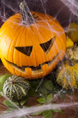 Halloween pumpkin Jack, spider web photo