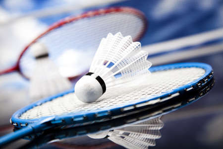 badminton racket: Shuttlecock on badminton racket