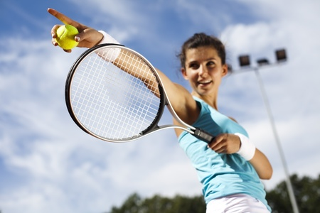 Girl Playing Tennis  photo