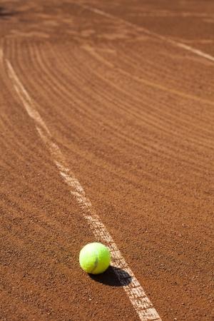 grand slam: Tennis Ball on a tennis court Stock Photo