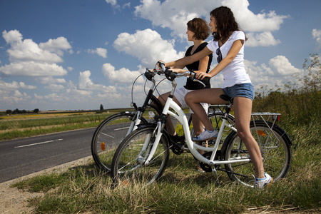 Ride a bike on the summer photo