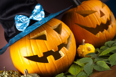 Funny face pumpkin, Halloween Stock Photo