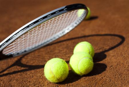 Tennis racket and balls, court Stock Photo