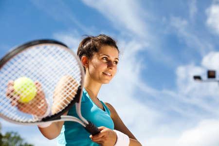 tennis racket: Playing tennis Stock Photo