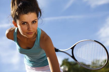 tennis racquet: Playing tennis Stock Photo