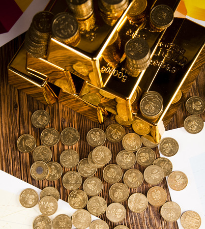 Stack of gold bars photo