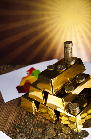 numismatist: Gold bars and sunset