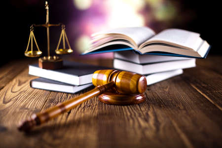 litigation: Scales of justice, gavel and law book