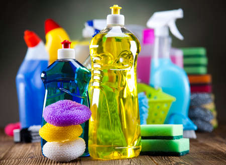 cleaning background: Assorted cleaning products