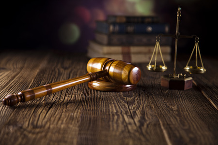 arbitrate: Wooden gavel barrister, justice concept, legal system  Stock Photo