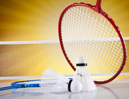 Shuttlecock on badminton racket  photo