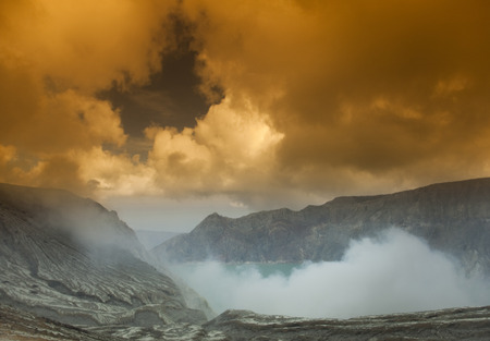 Sulphatic lake in a crater of volcano Ijen, Java, Indonesia