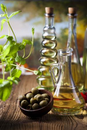 Olive oil bottles photo