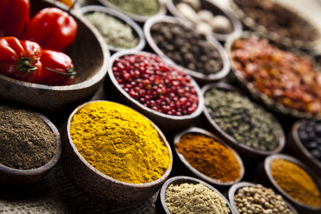 indian cooking: Colorful spices  Stock Photo