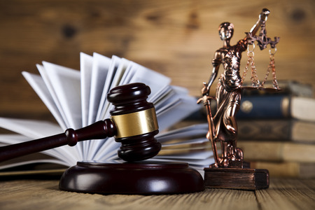arbitrate: Law theme, mallet of judge, wooden gavel