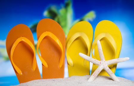 flip flops: Flip flops and sand