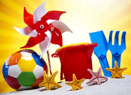 Assortment of children s beach toys photo