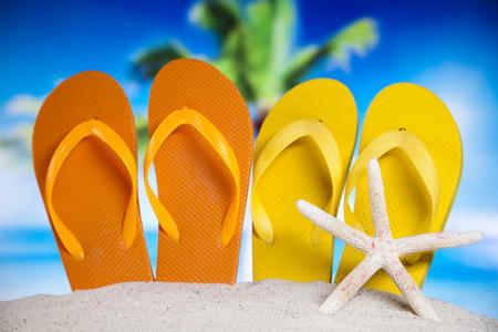 Flip flops on the beach photo