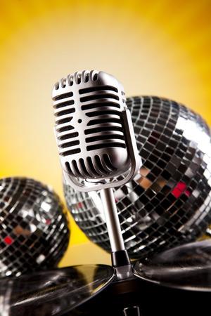 Retro microphone on summer sun grunge   photo
