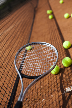 grand slam: Sport, Tennis racket and balls Stock Photo
