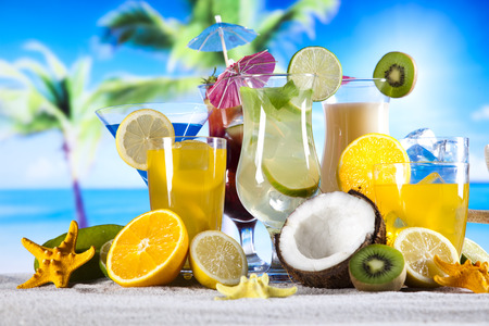 Alcoholic cocktails with fruits photo