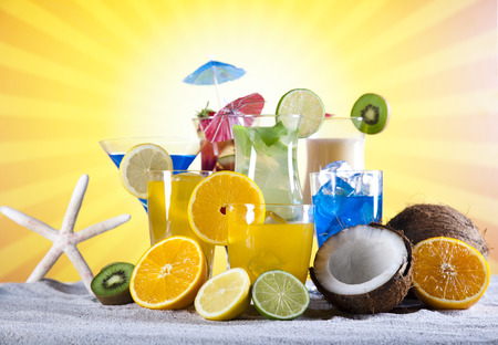 Alcohol drinks set with fruits photo