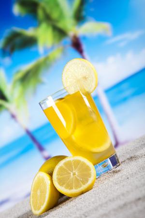 shooter drink: Lemon cocktail drink Stock Photo
