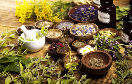 mortar and pestle medicine: Natural remedy  Stock Photo