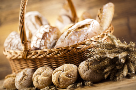 Composition with bread and basket photo