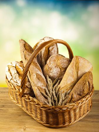Traditional bread in wicker basket photo