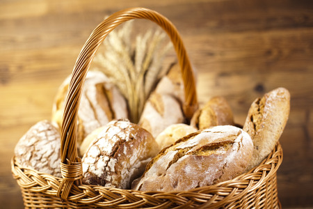 bakery products: Breads in basket