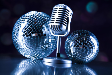 Microphone with disco balls photo