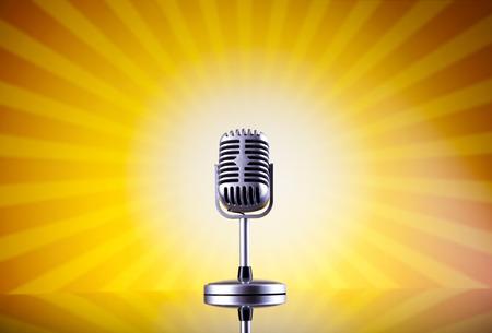 Retro microphone on sun grunge  photo