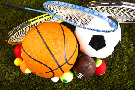 sports and recreation: Assorted sports equipment